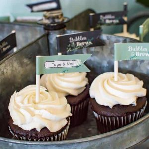 Bubbles and Brews bridal shower cupcake flags