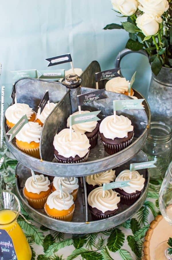 bridal shower cupcakes on stand
