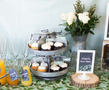 Cupcakes and mimosas at couples wedding shower