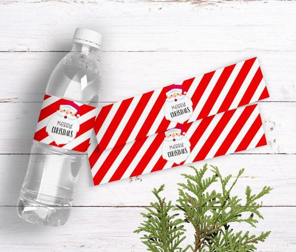 Santa Christmas Bottle Labels