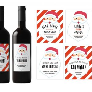 Christmas Santa Wine Labels Set