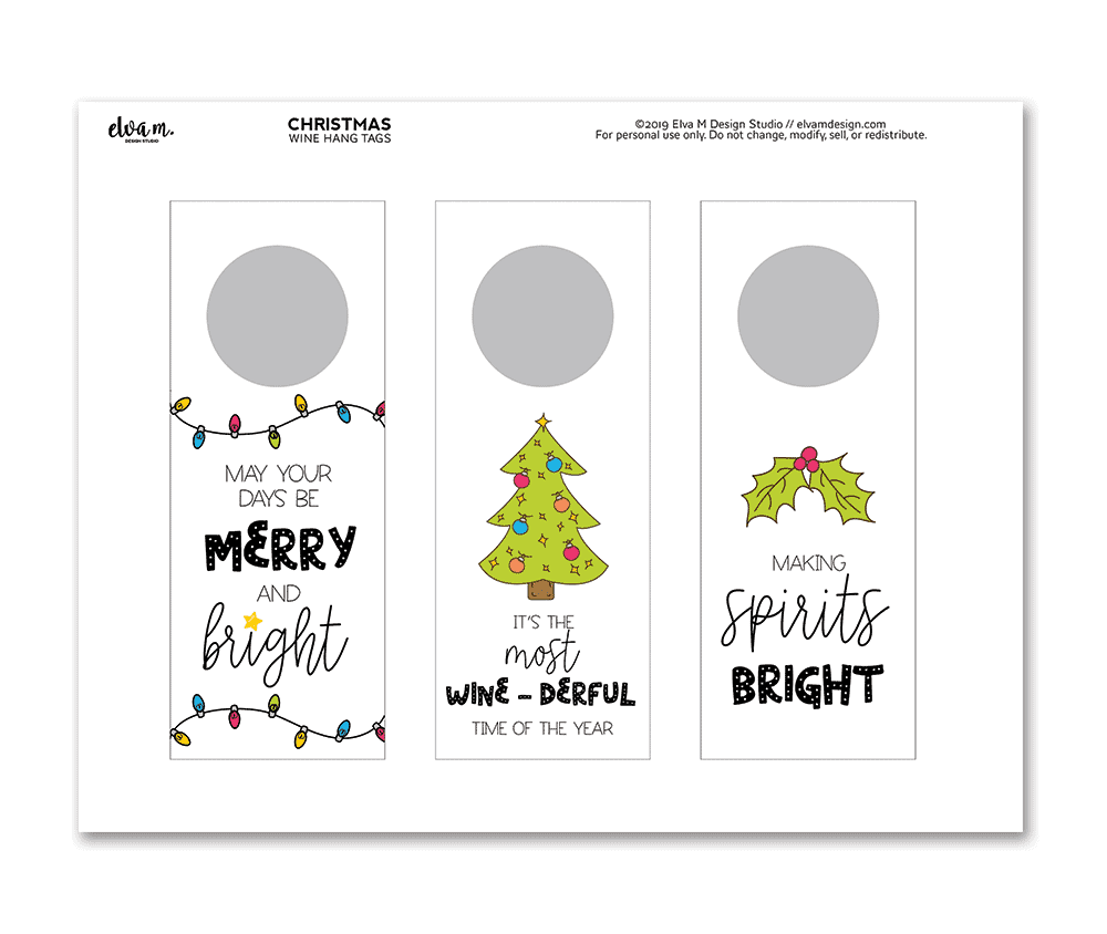 Holiday hang tags for wine and spirits