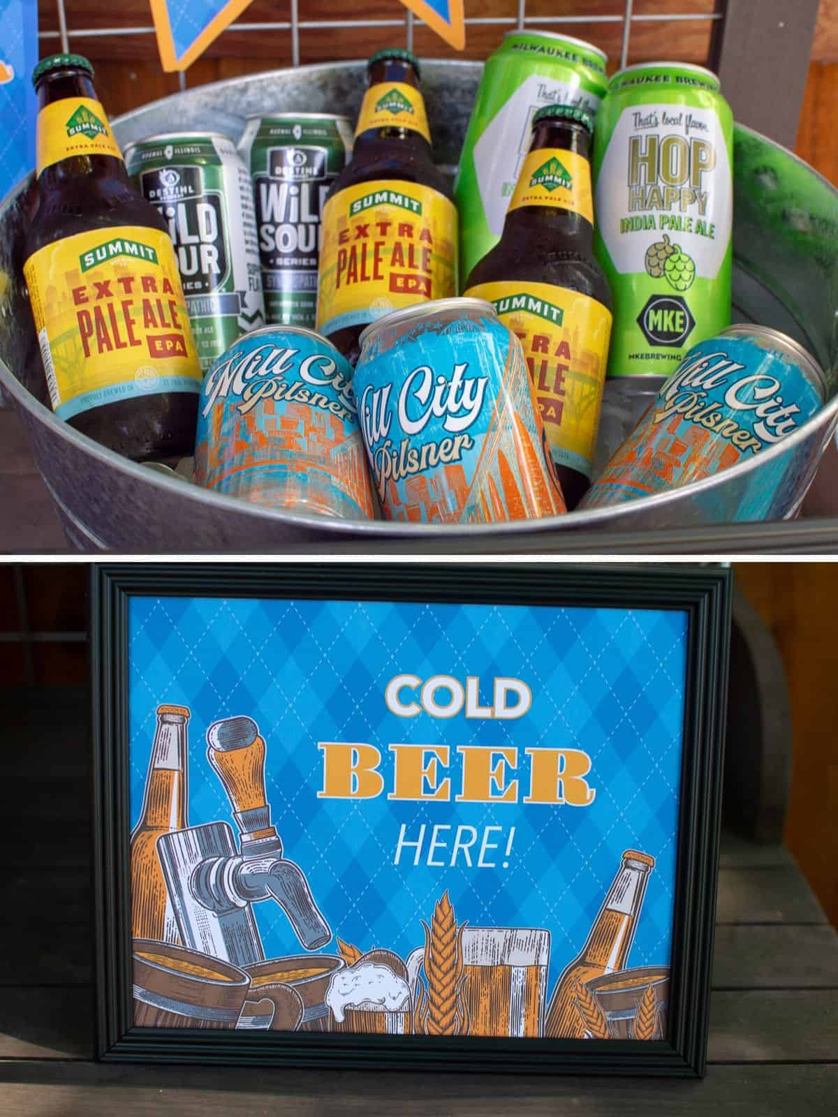 "bucket of beer with ""Cold Beer Here"" sign"
