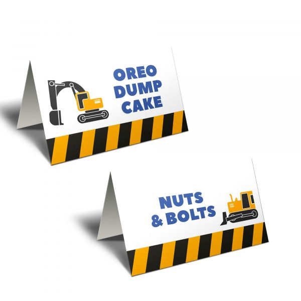 construction party tent cards