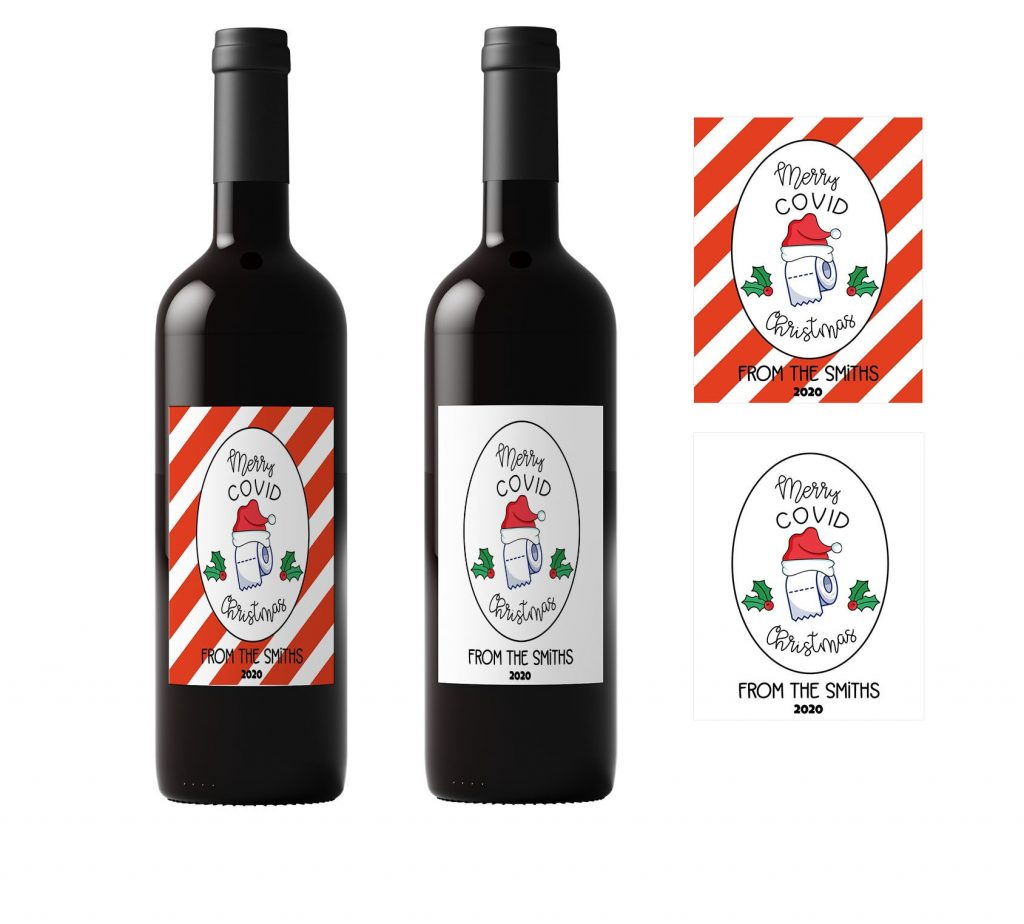 merry covid christmas wine label