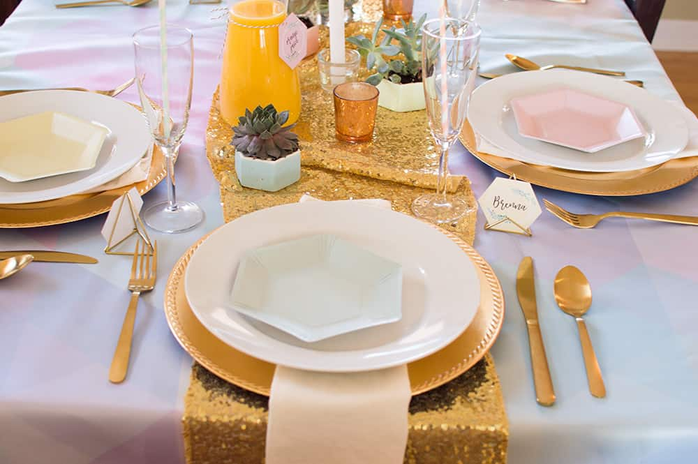 Tablescape Placesetting at the Crown Thyself brunch styled by Elva M Design Studio