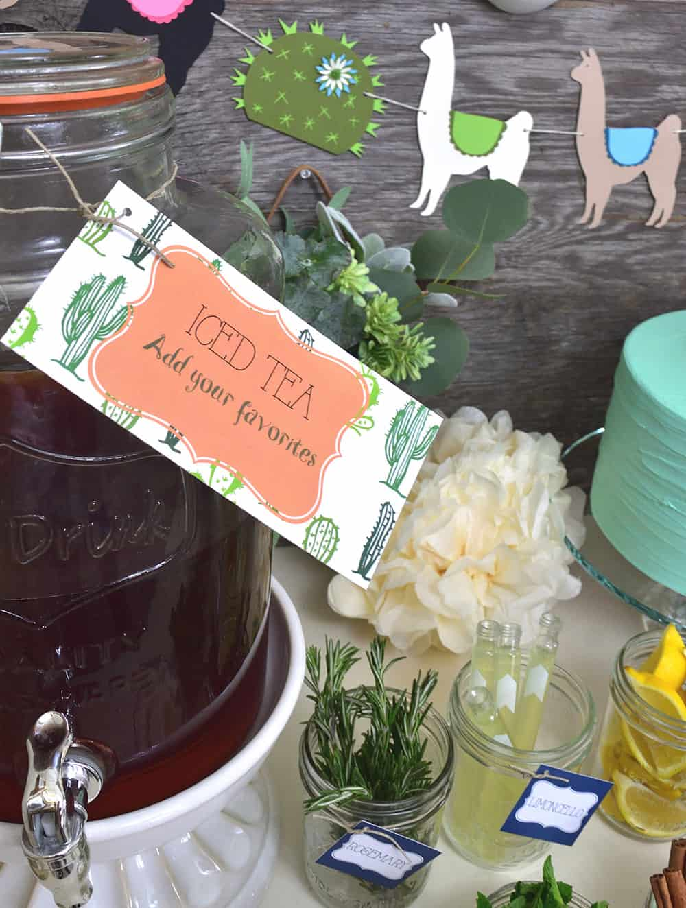 Iced tea served at a desert themed llama party