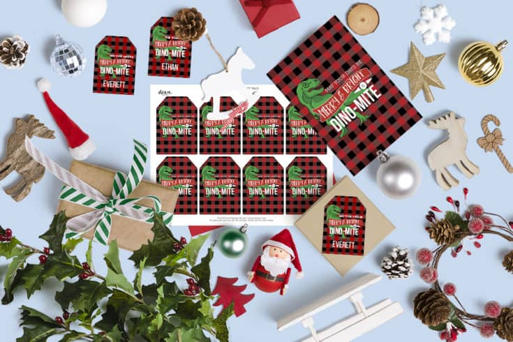 Free Dinosaur Christmas Gift Tags