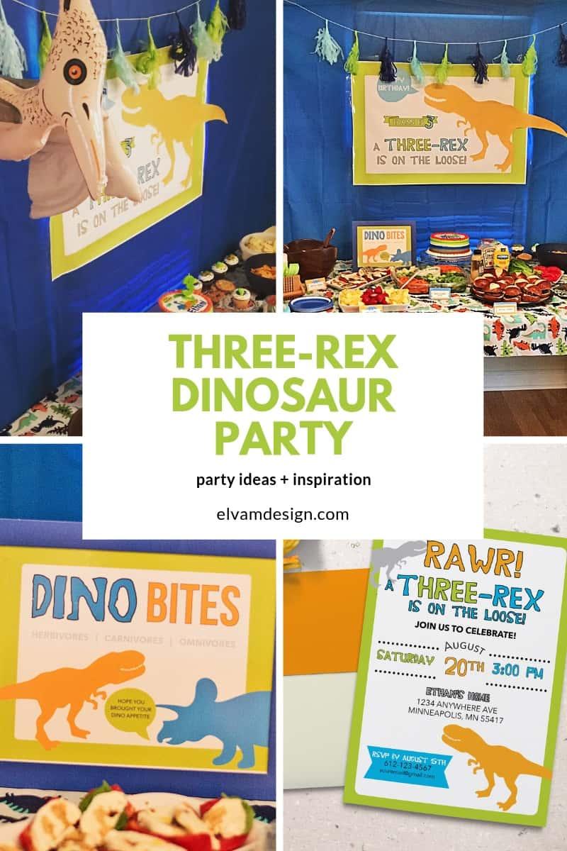 Three-Rex Dinosaur Third Birthday Party Party Ideas from Elva M Design Studio