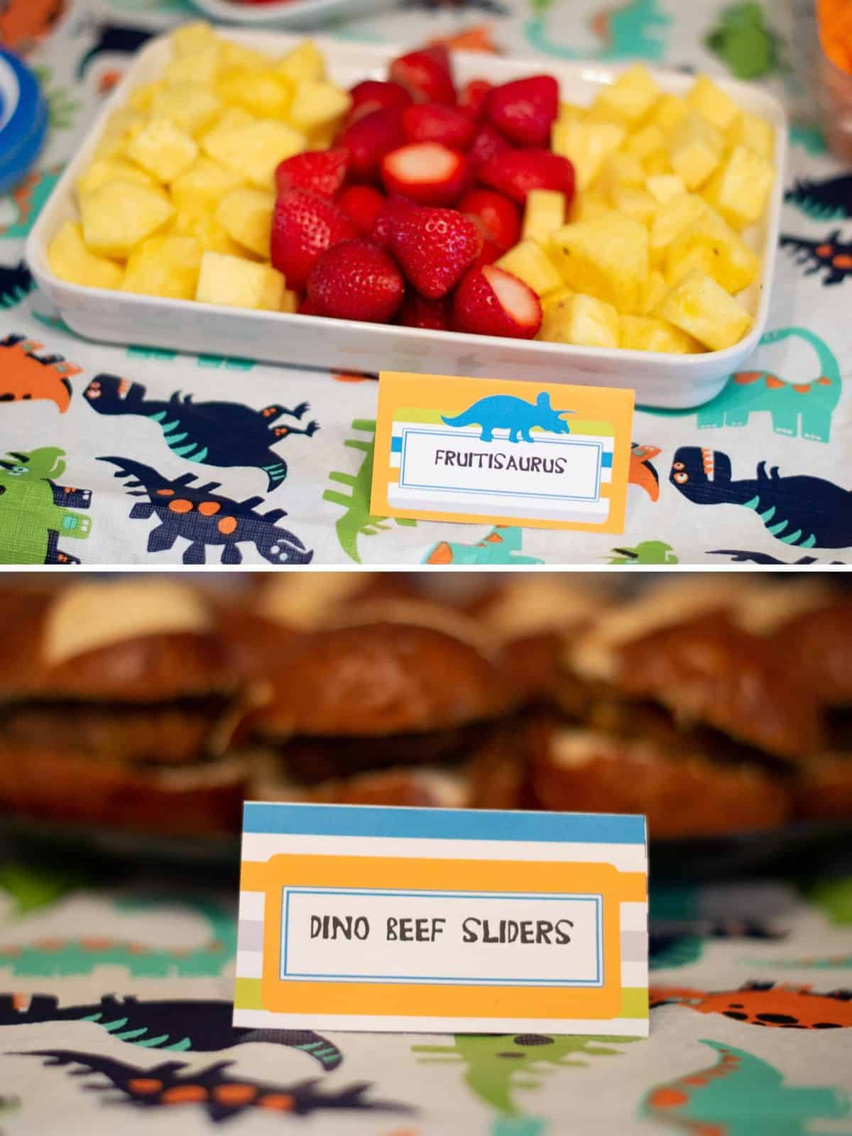 Dinosaur birthday party food tent cards