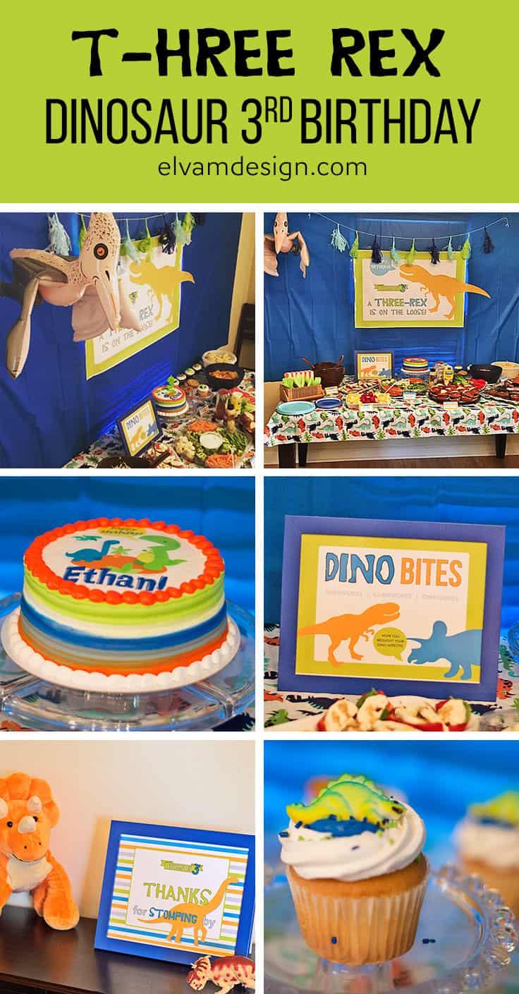 T-hree Rex Dinosaur Third Birthday Party