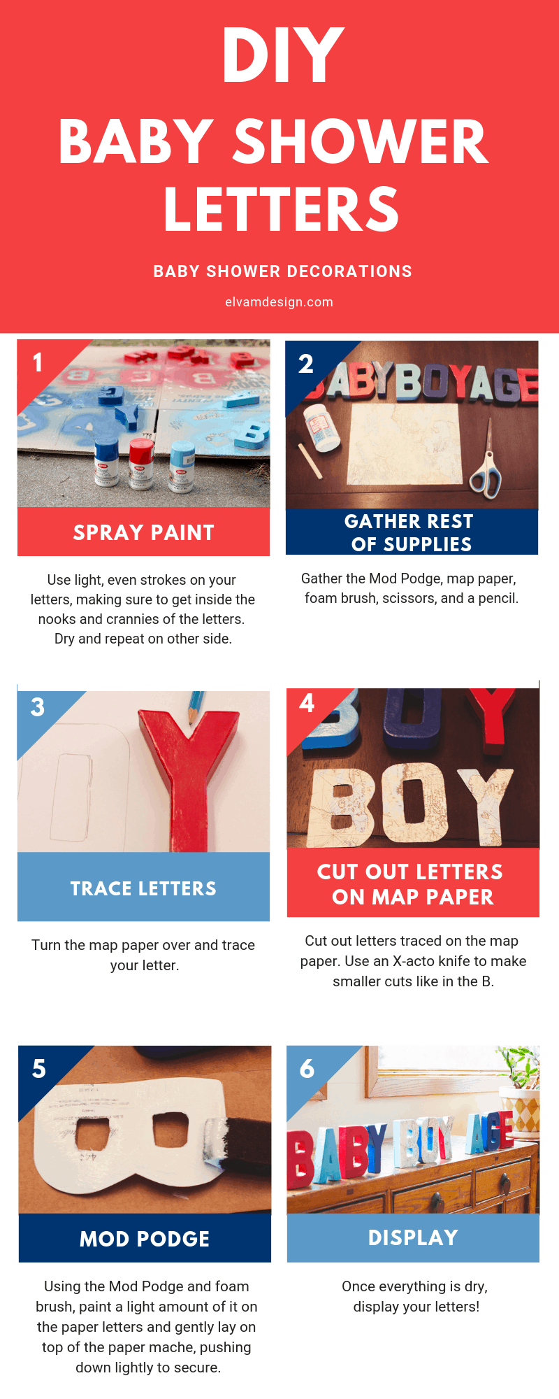 Follow the steps to create these DIY Baby Shower Letters