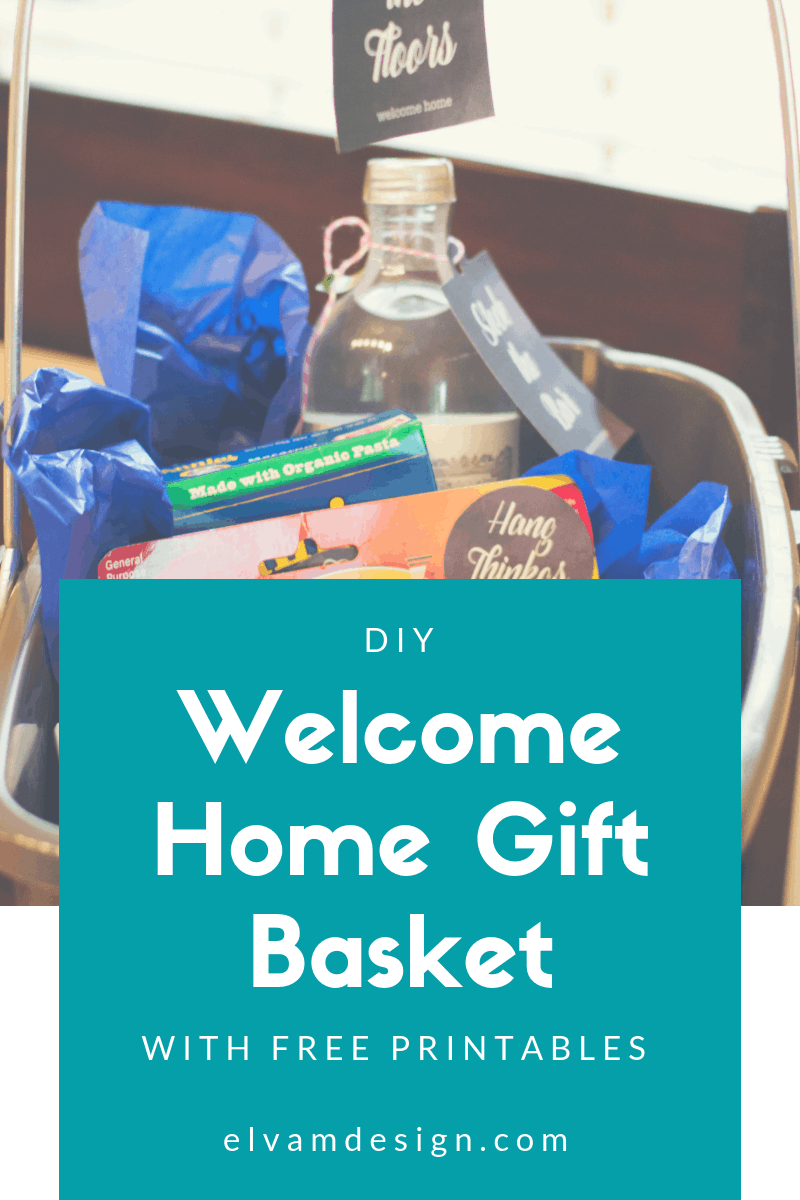 Create a thoughtful housewarming gift with this free printable and ideas to create a welcome home gift basket from Elva M Design Studio