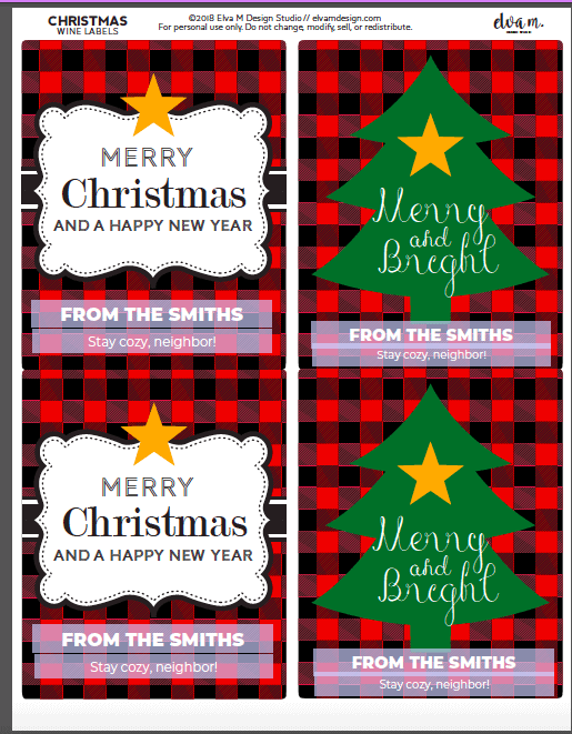 customizable Christmas wine labels