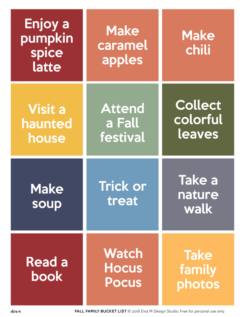 This Fall Family Bucket List Printable Set includes two pages of family fun.