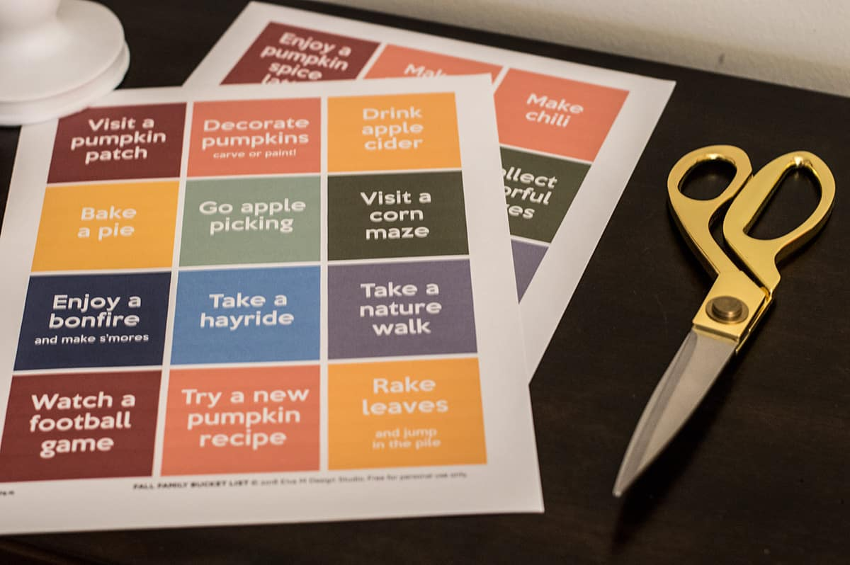 Print and cut this Fall Family Bucket List free printable from Elva M Design Studio