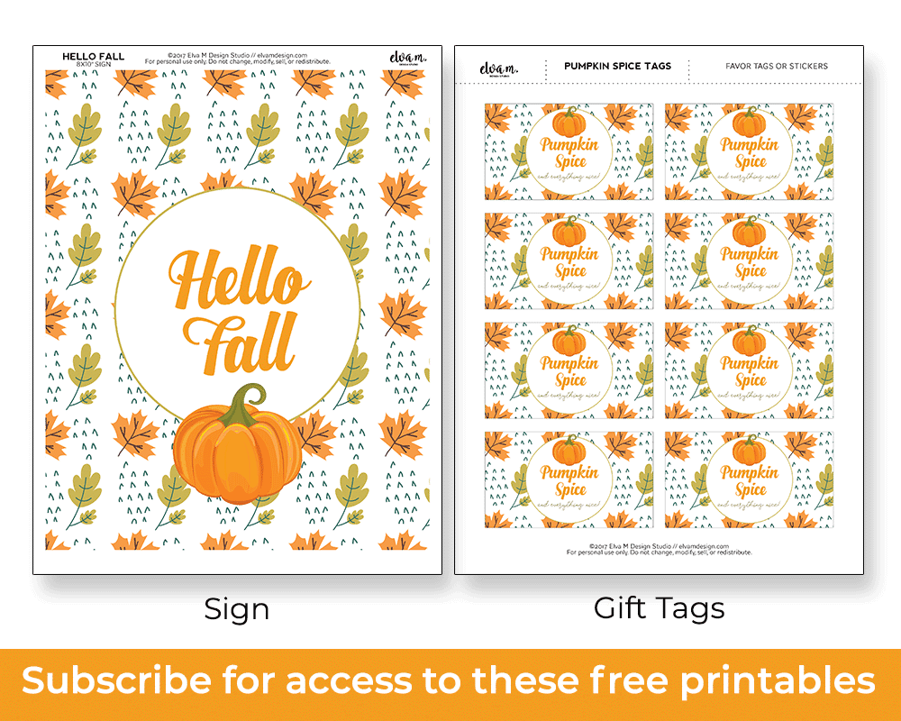 subscribe for free fall printables