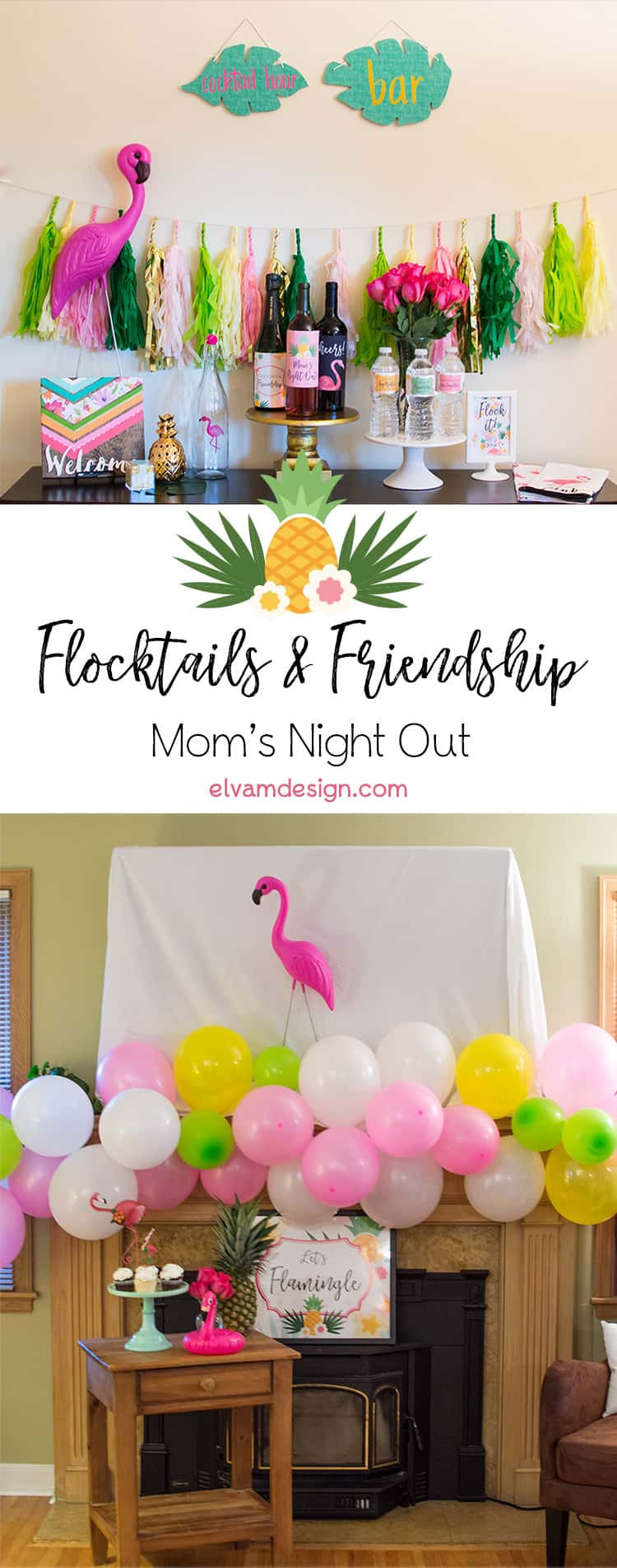 Check out this Flocktails and Friendship: Mom's Night Out party from Elva M Design Studio. Flamingos and Pineapples create a fun party backdrop as the mom' sip on wine!