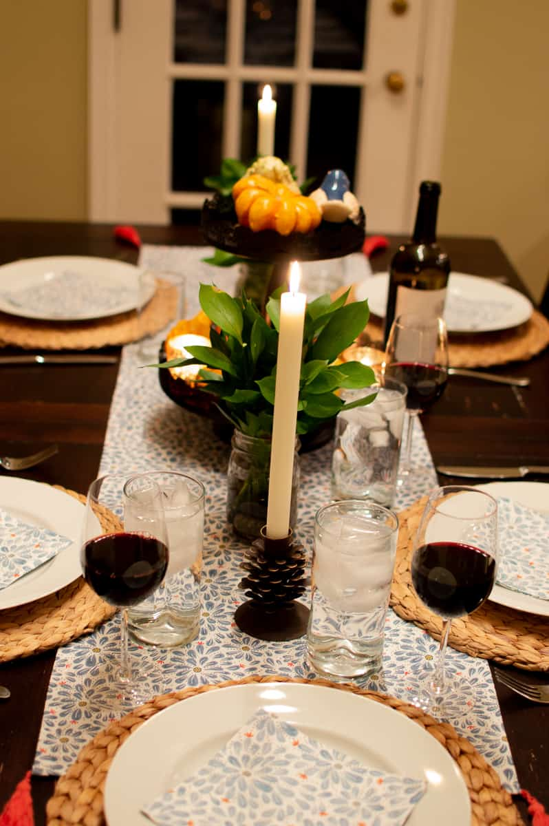 Floral table runner on a Fall table