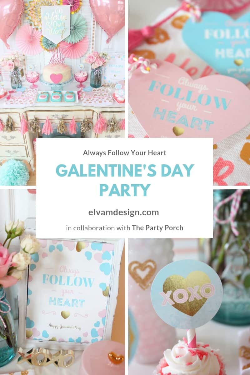 Check out this Follow Your Heart Galentine's Day Party from The Party Porch using printables by Elva M Design Studio