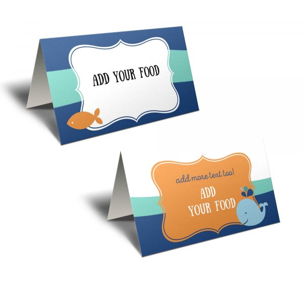 orange and blue whale food tent cards