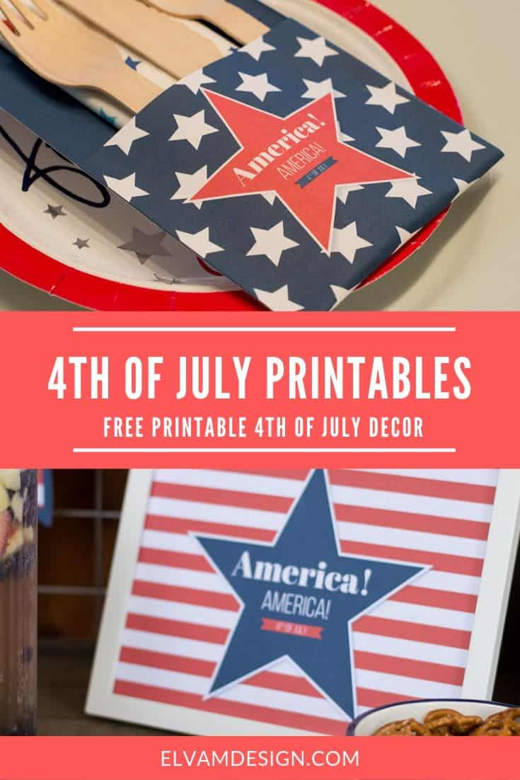 "Free Printables for 4th of July: Utensil Holder and 8x10"" Sign"