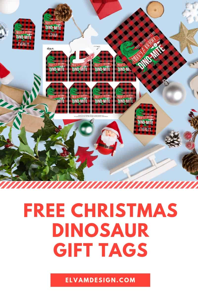 Free Christmas Dinosaur Gift Tags from Elva M Design Studio. Download, personalize, and print!