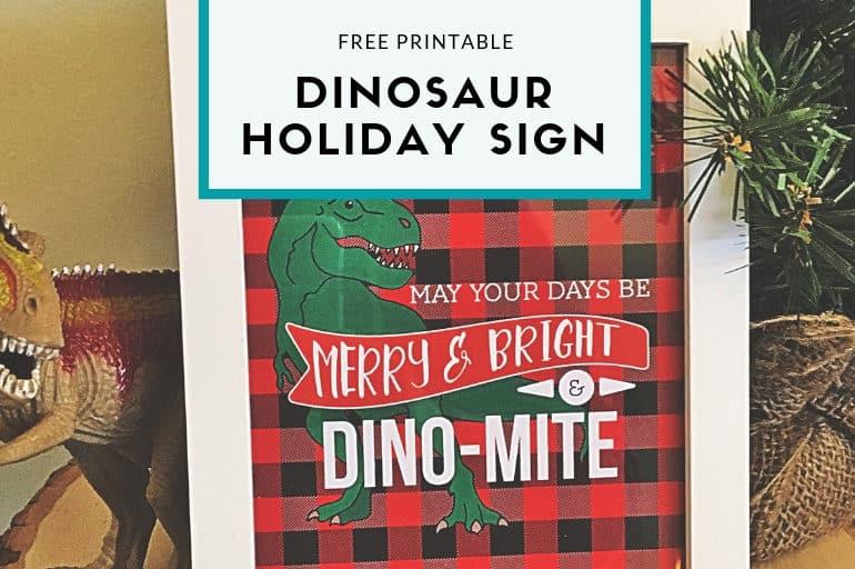 free dinosaur holiday sign