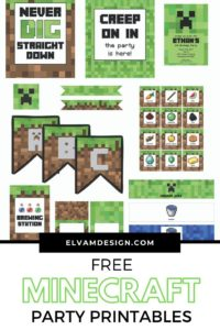Free Minecraft birthday party printables