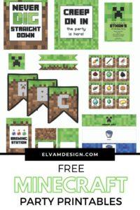 Free Minecraft birthday party printables