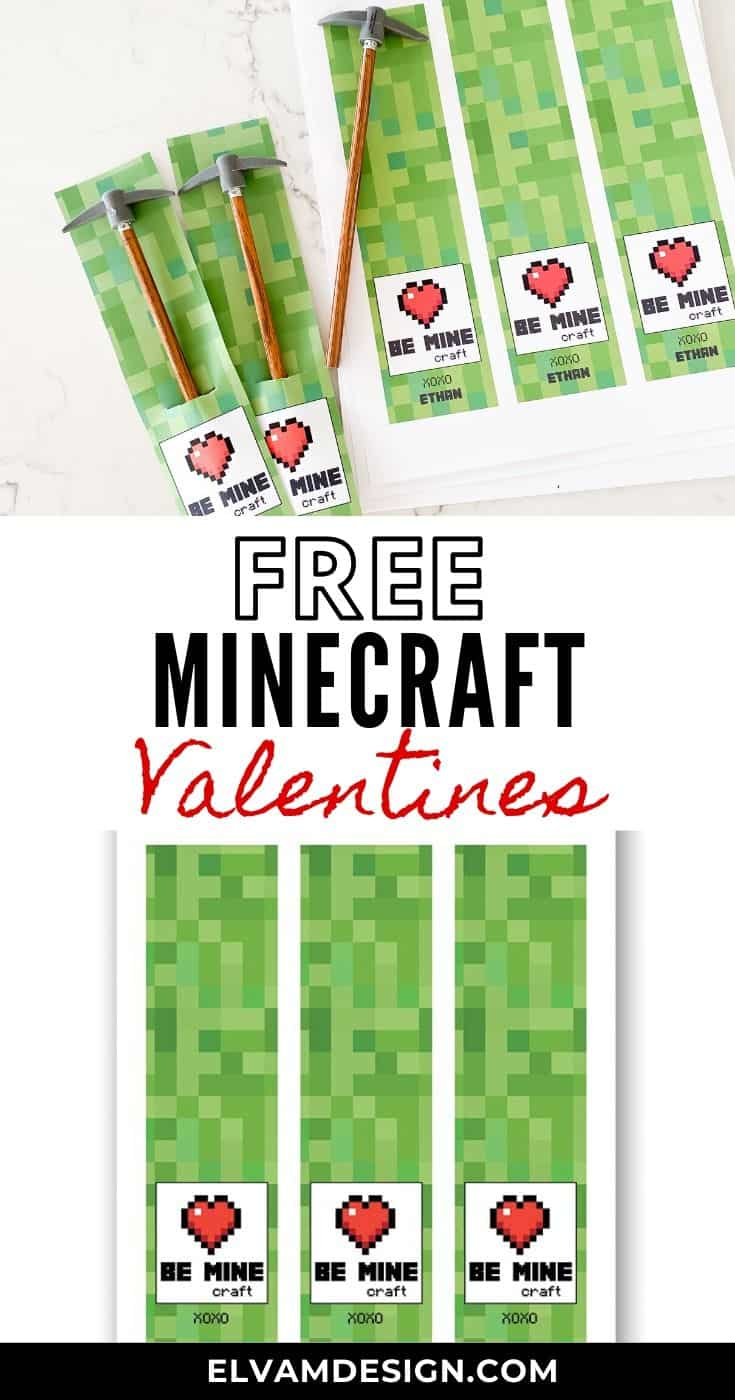 free minecraft valentine's day card