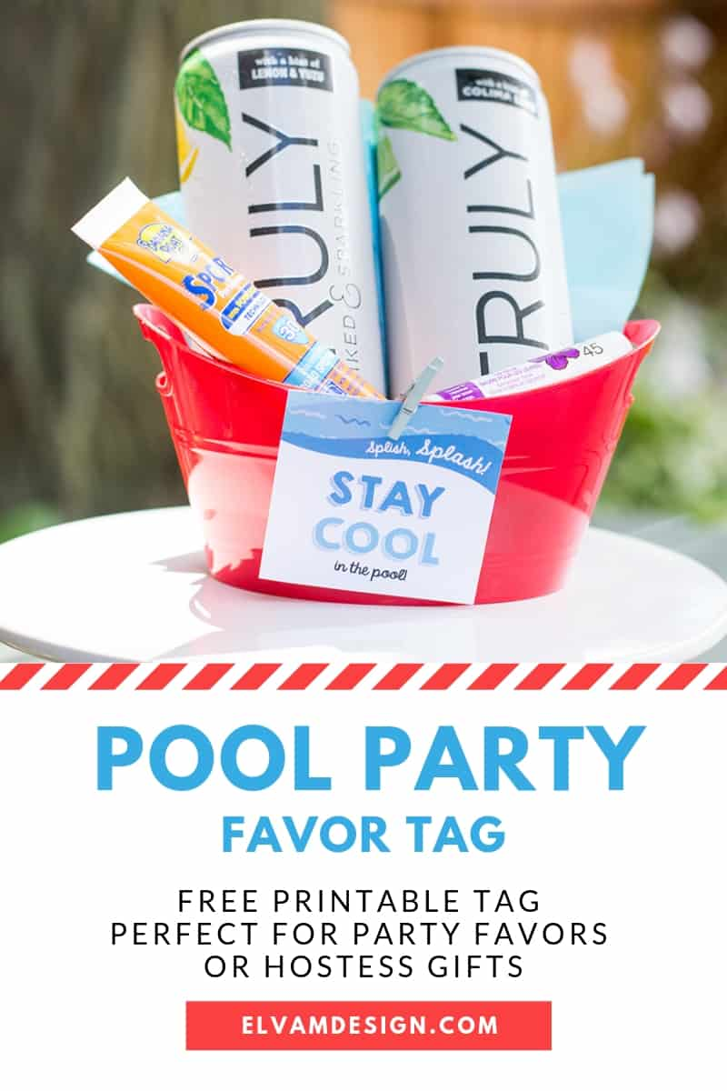Free Pool Party Hostess Gift Tag
