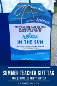 Summer Teacher Gift Tag