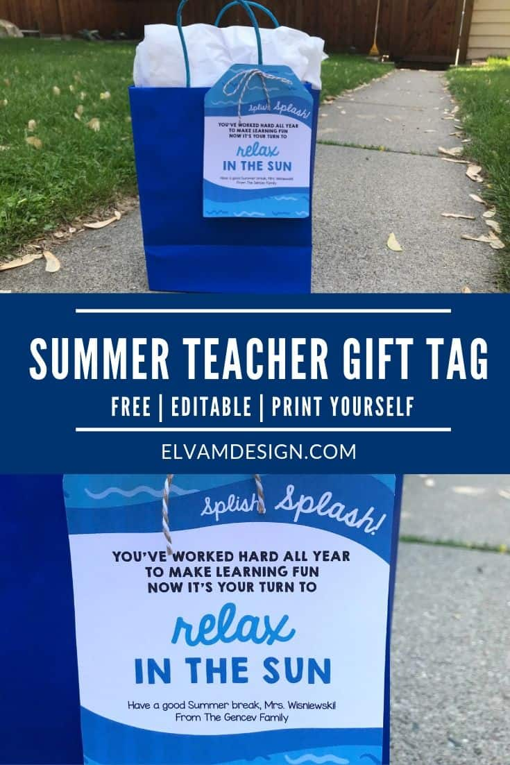 Free Summer Teacher Gift Tag