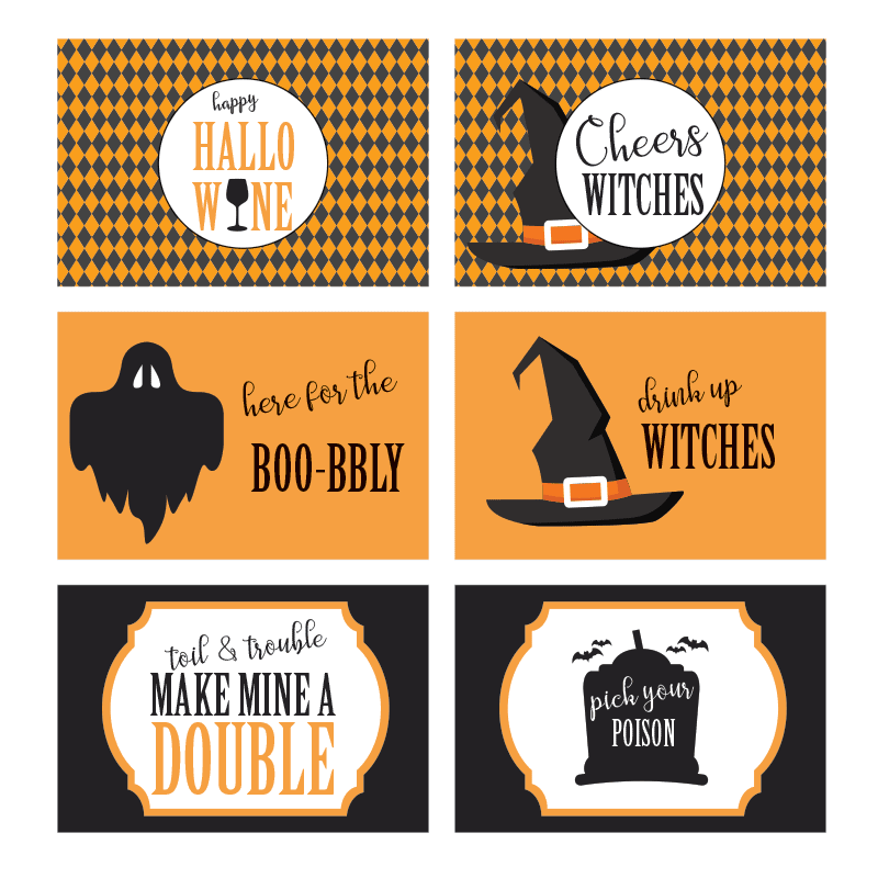 set of free Halloween labels for mini wine or champagne bottles