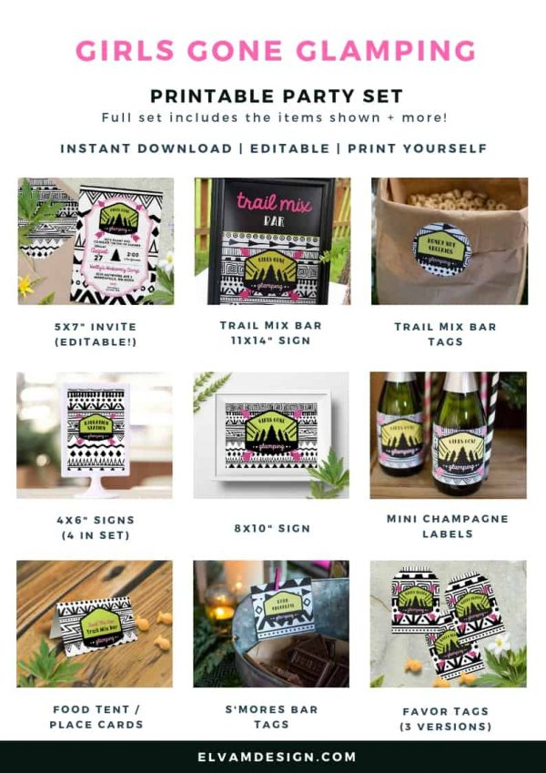 Girls gone glamping printable set available on Etsy in the Elva M Design Shop