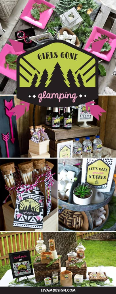 It's time to grab your ladies and head to the woods. Check out this Girls Gone Glamping Party from Elva M Design Studio