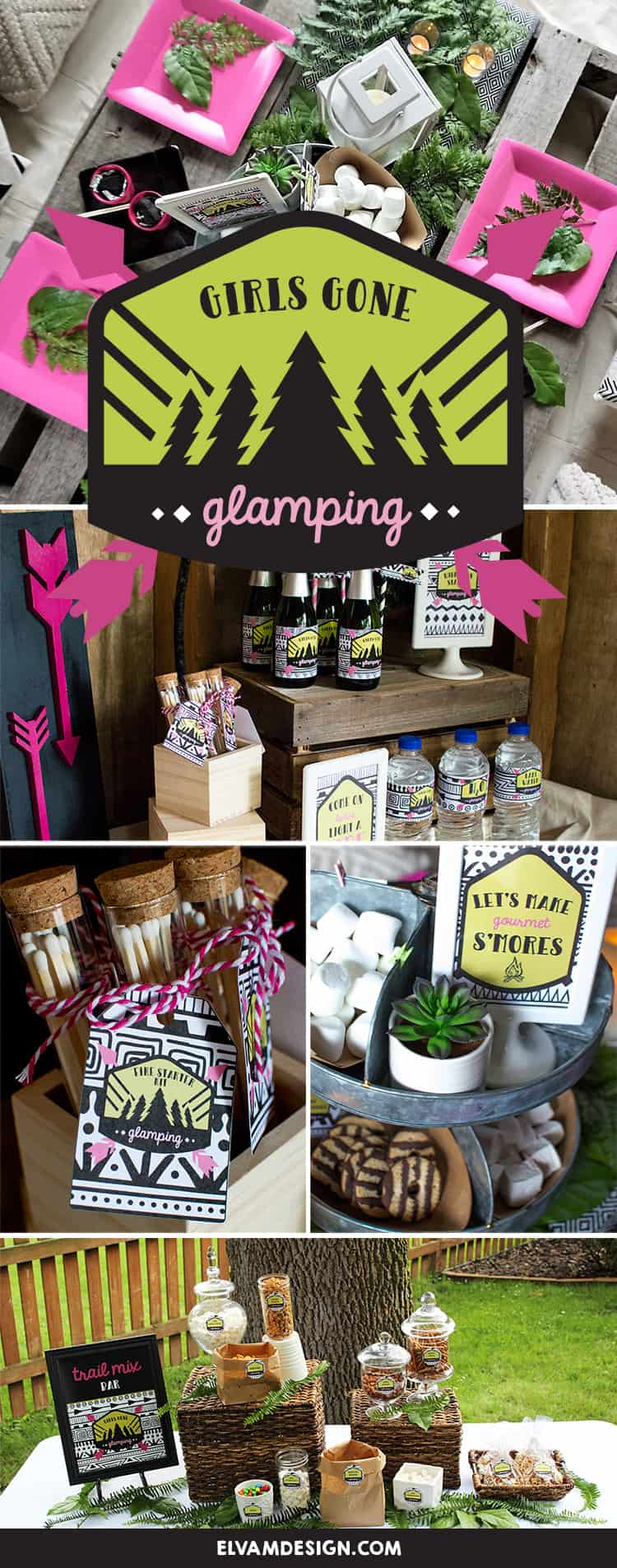 It's time to grab your ladies and head to the woods. Check out this Girls Gone Glamping Party from Elva M Design Studio for inspiration and ideas!