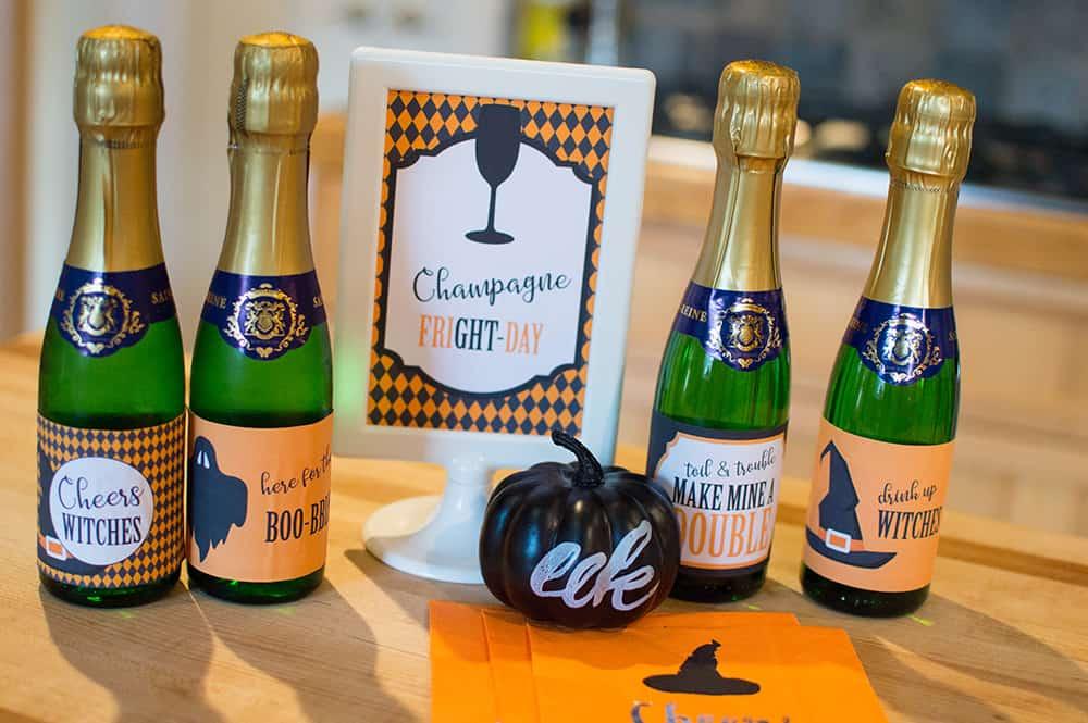 Halloween mini champagne bottle labels