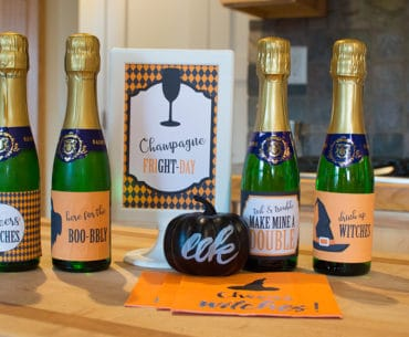 set of free Halloween mini wine and champagne bottle labels