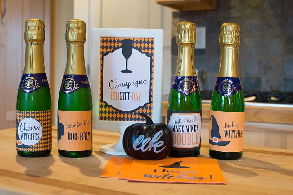 Halloween champagne bottle label