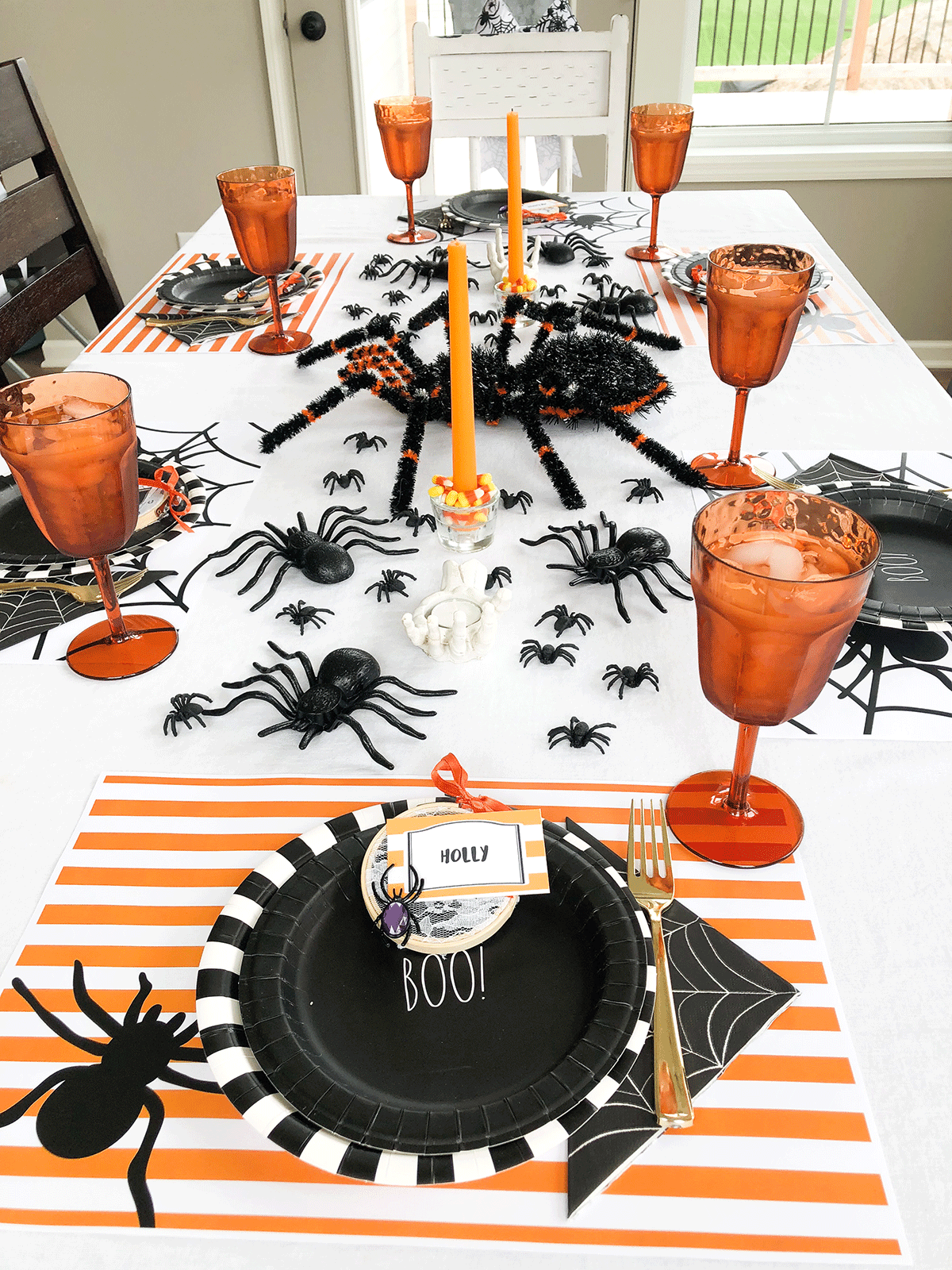 Halloween tablescape with spiders