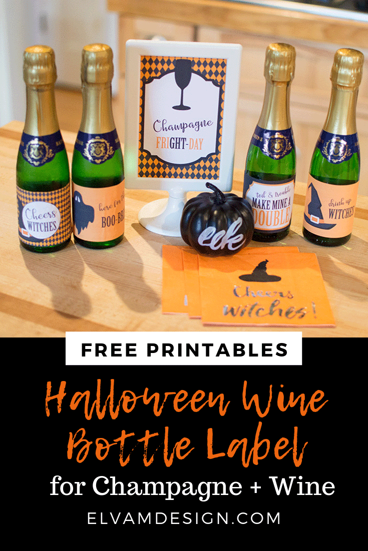 free mini wine bottle labels for Halloween