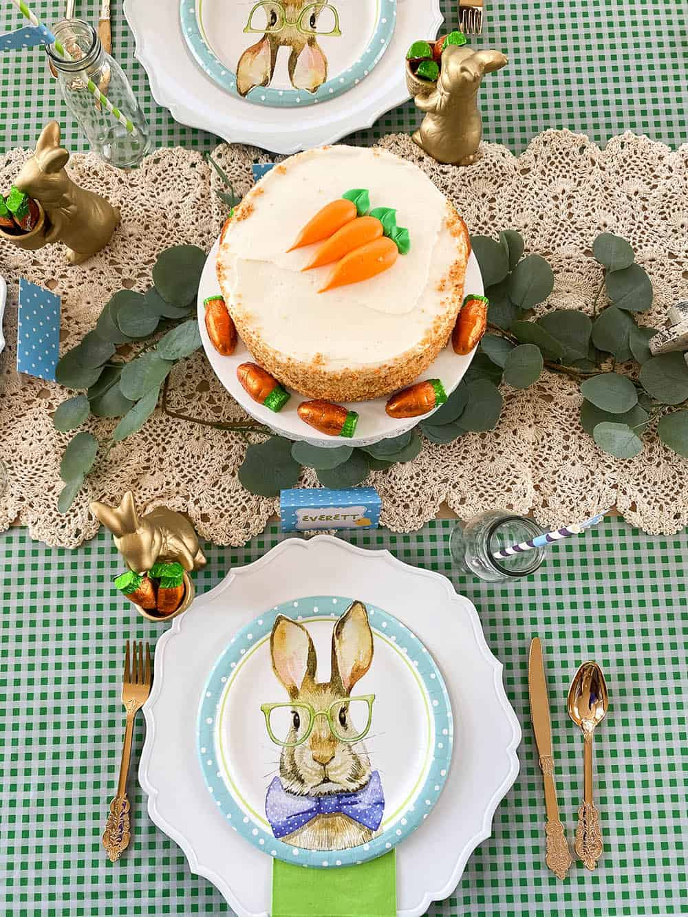 Carrot cake on Easter table