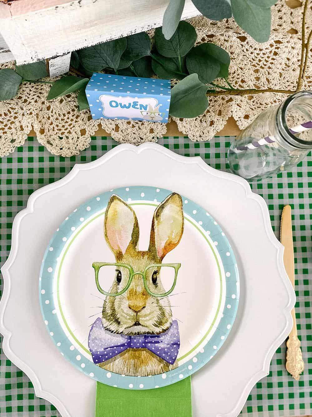 Hipster Bunny Plates