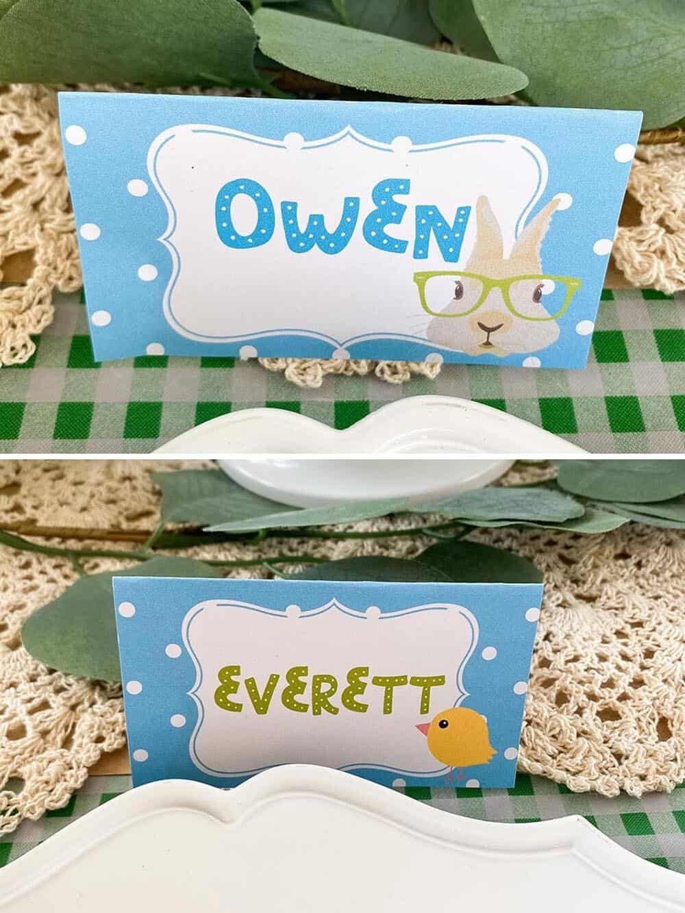 free Easter table place cards