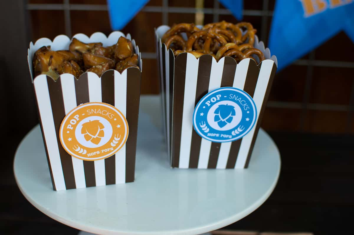 Pretzels served in mini popcorn boxes at Hops for Pops Father's Day Beer Tasting Party