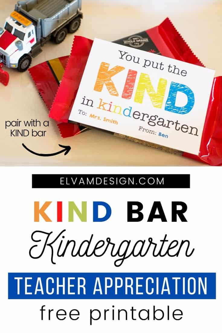 Kind Bar Teacher Appreciation Printable