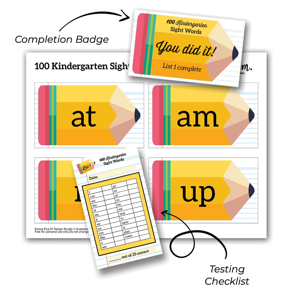 Kindergarten Sight Words Printable includes testing checklist and completion badge