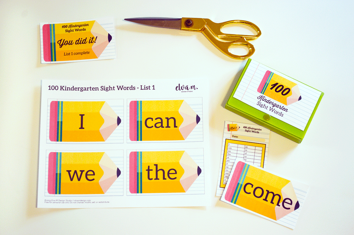 100 common sight words printable set